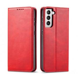 Casecentive Leder case Luxus Samsung Galaxy S21 Plus rot