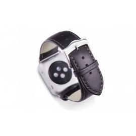 Monowear Lederen Horlogeband bruin/zilver mat (42mm)