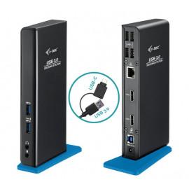 i-Tec USB-A 3.0 / USB-C Dual HDMI Docking Station schwarz