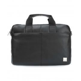 Knomo StanFord Leather slim laptop carrier 13 Inch scharz