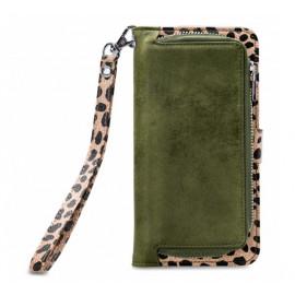 Mobilize 2in1 Gelly Wallet Zipper Case iPhone 11 olivgrün / leopard