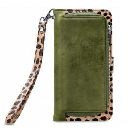 Mobilize 2in1 Gelly Wallet Zipper Hülle iPhone 12 Mini Olivgrün / Leopard