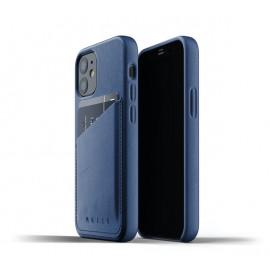 Mujjo Lederhülle Wallet Case iPhone 12 blau