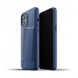 Mujjo Lederhülle Wallet Case iPhone 12 Pro Max blau
