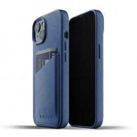 Mujjo Leder Wallet Case iPhone 13 blau