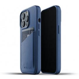 Mujjo Leder Wallet Case iPhone 13 Pro blau