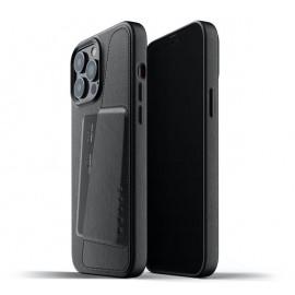 Mujjo Leder Wallet Case iPhone 13 Pro Max schwarz