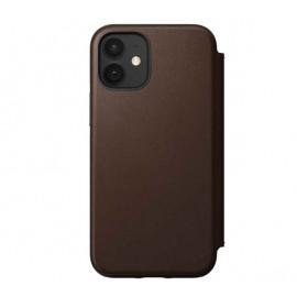 Nomad Rugged Folio Leder Hülle iPhone 12 Mini Braun
