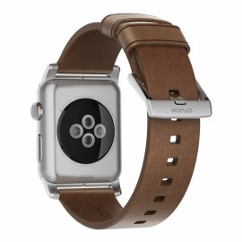 Nomad Lederarmband Apple Watch 42mm braun / silber