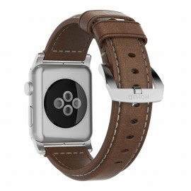 Nomad Lederarmband Apple Watch 42 / 44 mm braun / silber